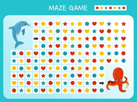 Maze game for children. Find the correct path by the pattern. Cartoon cute sea animals.