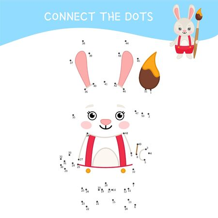 Educational game for kids. Dot to dot game for children.  Cartoon cute rabbit with brush. Ilustração