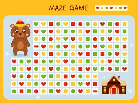 Maze game for children. Find the correct path by the pattern. Cartoon cute bear. Ilustração