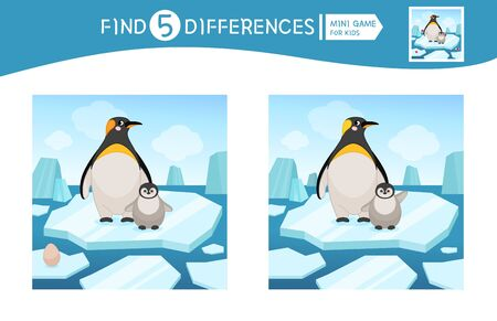 Find differences.  Educational game for children. Cartoon vector illustration of cute penguin in the arctic. Illustration