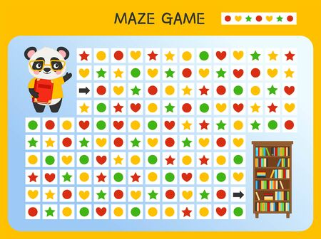 Maze game for children. Find the correct path by the pattern. Cartoon cute panda. Ilustração