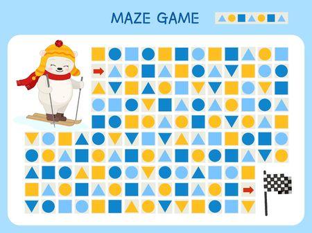 Maze game for children. Find the correct path by the pattern. Cartoon cute polar bear. Ilustração
