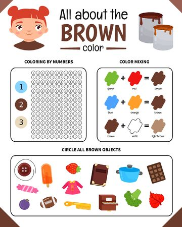 Kids learning material. Worksheet for learning colors. Brown color.