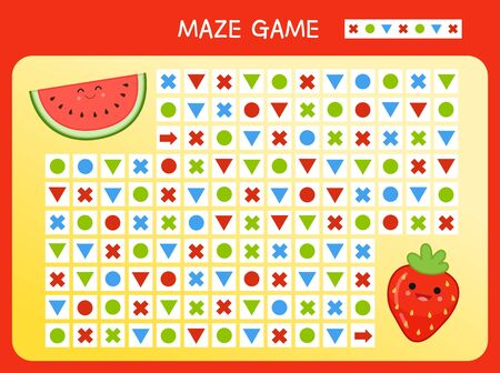 Maze game for children. Find the correct path by the pattern. Cartoon cute fruits.