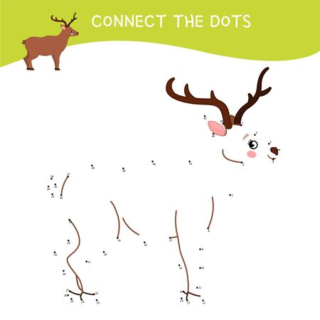Educational game for kids. Dot to dot game for children. Forest animals collection. Cartoon cute deer.