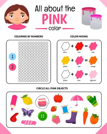 Kids learning material. Worksheet for learning colors. Pink color.