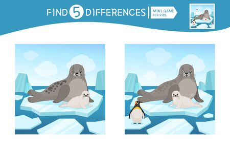 Find differences.  Educational game for children. Cartoon vector illustration of cute seal with its baby.