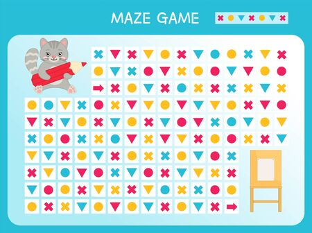 Maze game for children. Find the correct path by the pattern. Cartoon cute cat with pencil.