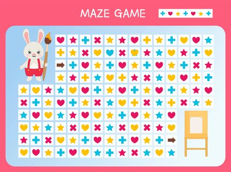 Maze game for children. Find the correct path by the pattern. Cartoon cute rabbit with brush.