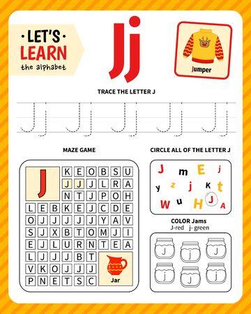 Kids learning material. Worksheet for learning alphabet. Letter J. Vektoros illusztráció