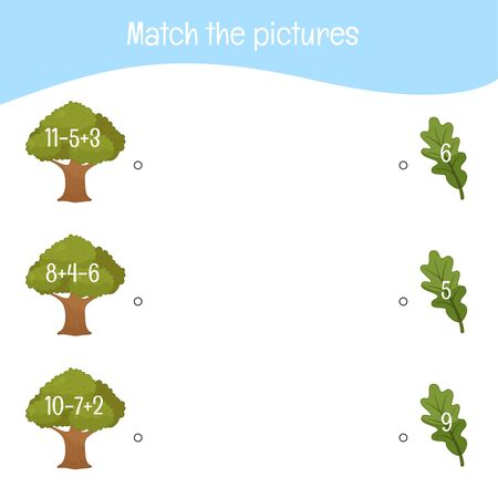 Matching children educational game. Activity for pre sсhool years kids and toddlers. Match the trees and leaves.