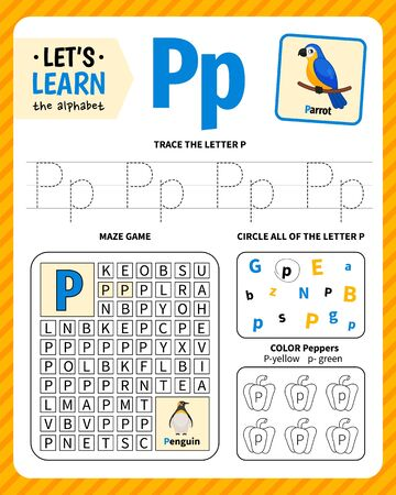 Kids learning material. Worksheet for learning alphabet. Letter P. Ilustração