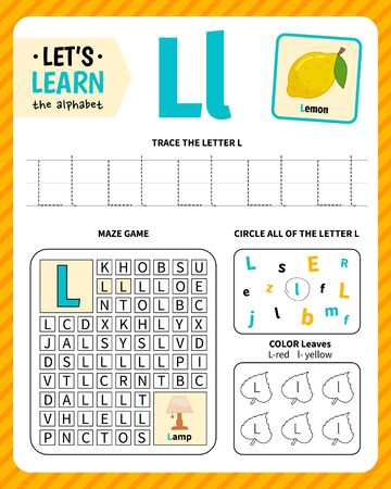 Kids learning material. Worksheet for learning alphabet. Letter L.