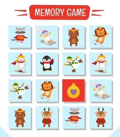 Jeu de mémoire pour les enfants d'âge préscolaire, cartes vectorielles avec un joli personnage de Noël. Trouvez deux images identiques. Page d'activité des enfants pour le livre.