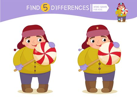 Find differences.  Educational game for children. Cartoon vector illustration of cute boy with lollipop.