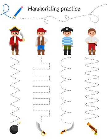 Handwriting practice sheet. Basic writing. Educational game for children.  Connect the pirates and weapons. Ilustração