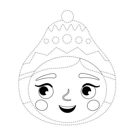 Handwriting practice sheet. Basic writing. Educational game for children. Cute girl in a hat.  Ilustração
