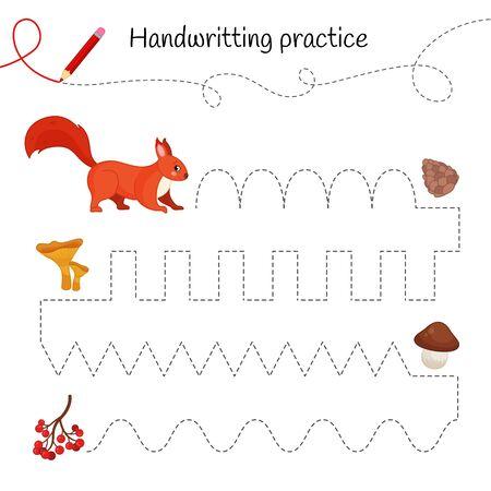 Handwriting practice sheet. Basic writing. Educational game for children. Cartoon cute squirrel.