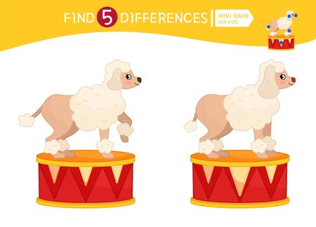 Find differences.  Educational game for children. Cartoon vector illustration of cute poodle.