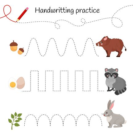 Handwriting practice sheet. Basic writing. Educational game for children. Cartoon forest animals.  Ilustração