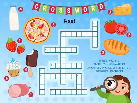 Educational game for kids. Crossword Food. Kids activity sheet,