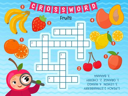 Educational game for kids. Crossword Fruits. Kids activity sheet,