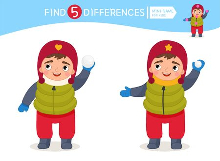Find differences.  Educational game for children. Cartoon vector illustration of child plays snowballs.