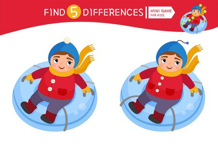 Find differences.  Educational game for children. Cartoon vector illustration of cute girl sledding. Winter fun..