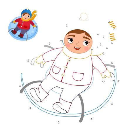 Educational game for kids. Dot to dot game for children. Cartoon child sleighing. Ilustração