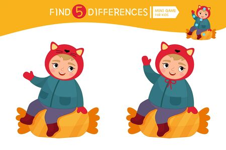 Find differences.  Educational game for children. Cartoon vector illustration of cute child with candy. Ilustração