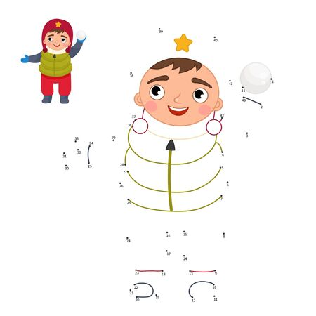 Educational game for kids. Dot to dot game for children. Cartoon child playing snowballs.