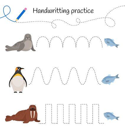 Hoja de práctica de escritura a mano. Escritura básica. Juego educativo para niños. Lindos animales árticos.