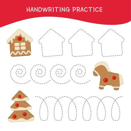 Handwriting practice sheet. Basic writing. Educational game for children. Cartoon gingerbreads.