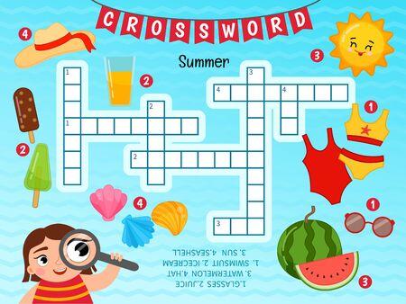 Educational game for kids. Crossword Summer. Kids activity sheet,