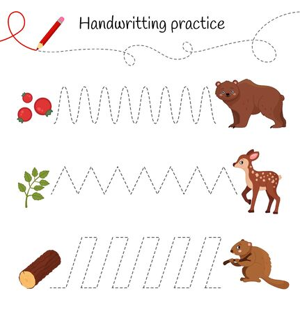Handwriting practice sheet. Basic writing. Educational game for children. Cartoon forest animals.