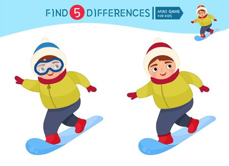 Find differences.  Educational game for children. Cartoon vector illustration of cute boy snowboarding. Winter entertainment.