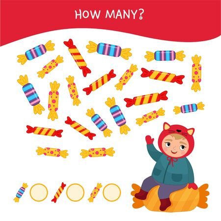 Counting educational children game, math kids activity sheet. How many objects task. Illustration of a cute girl sitting on a candy.  Ilustração