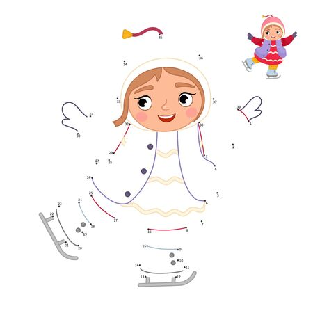 Educational game for kids. Dot to dot game for children. Illustration of a cute little girl skating. Winter activities.