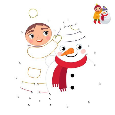 Educational game for kids. Dot to dot game for children. Illustration of a cute girl sculpts a snowman. Winter activities.