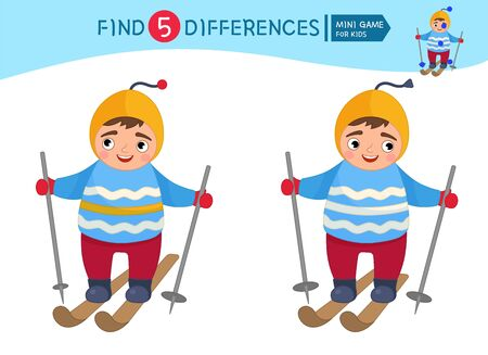 Find differences.  Educational game for children. Cartoon vector illustration of cute boy boy is skiing. Winter entertainment. Ilustração