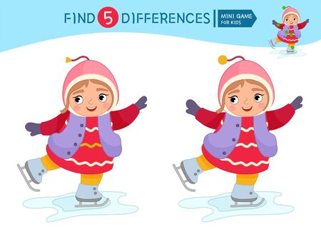 Find differences.  Educational game for children. Cartoon vector illustration of cute girl skates.  Ilustração