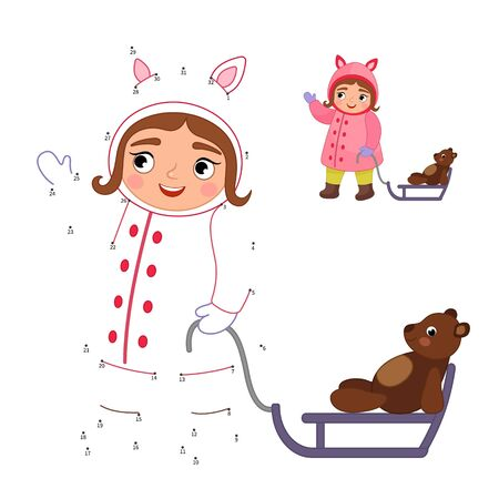 Educational game for kids. Dot to dot game for children. Illustration of a cute the girl is carrying sledges. Winter activities. Vettoriali