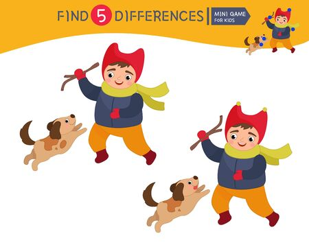 Find differences. Educational game for children. Cartoon vector illustration of cute boy plays with a dog.