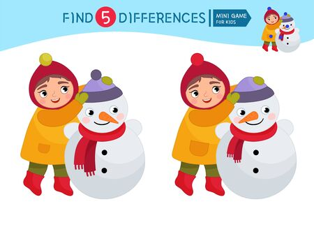 Find differences.  Educational game for children. Cartoon vector illustration of cute girl sculpts a snowman. Ilustração