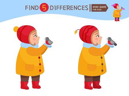 Find differences.  Educational game for children. Cartoon vector illustration of cute girl holding a bullfinch. Ilustração