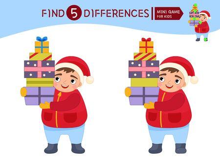 Find differences.  Educational game for children. Cartoon vector illustration of cute boy holds gifts. Ilustração