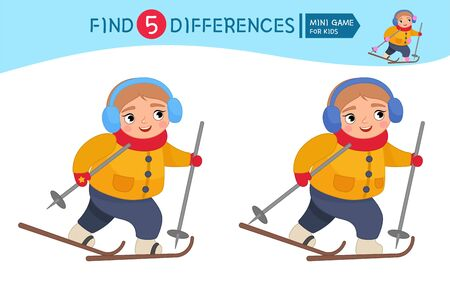 Find differences.  Educational game for children. Cartoon vector illustration of cute girl is skiing. Winter entertainment.