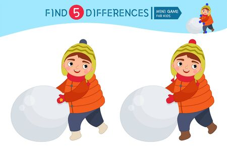 Find differences.  Educational game for children. Cartoon vector illustration of cute boy sculpts a snowman.