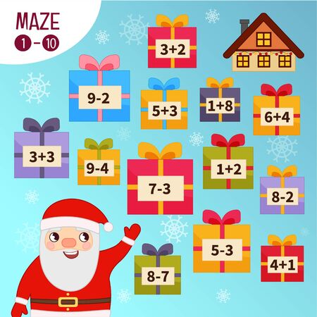 Maze game for children. Help Santa collect gifts. Illustration
