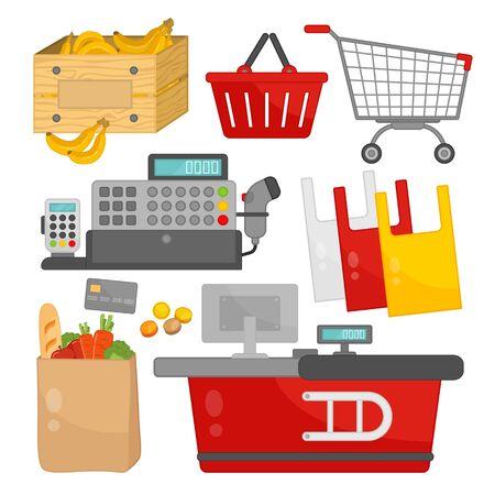 Vector supermarket icon set. Cartoon illustrations of cashier equipment.